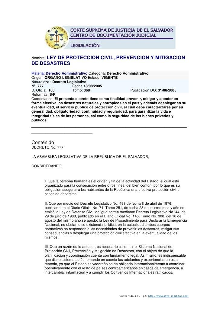 Nombre: LEY         DE PROTECCION CIVIL, PREVENCION Y MITIGACION DE DESASTRES Materia: Derecho Administrativo Categoría: D...
