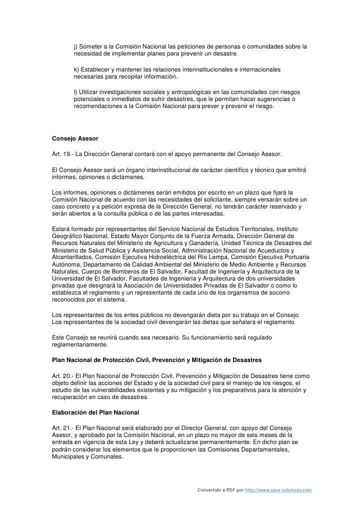 j) Someter a la Comisión Nacional las peticiones de personas o comunidades sobre la         necesidad de implementar plane...