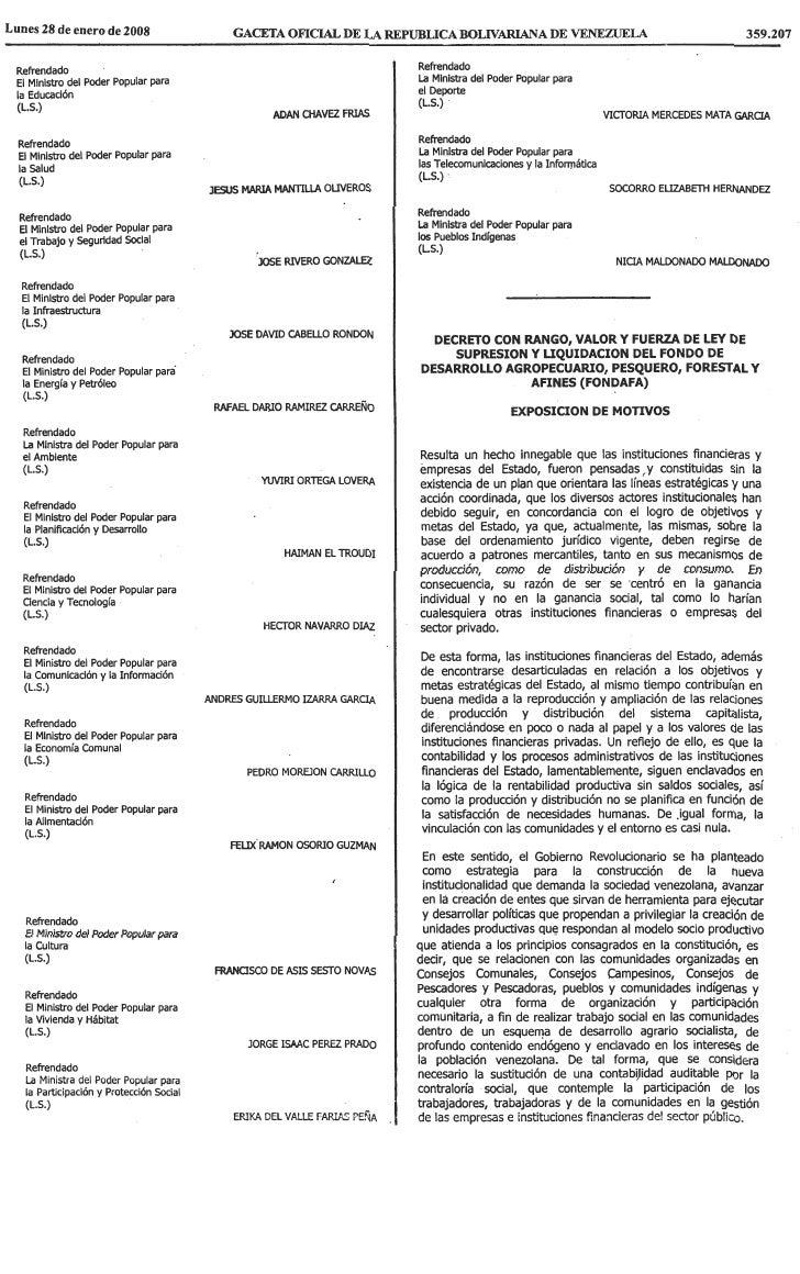 Ley De SupresióN Y LiquidacióN Del Fondo De Desarrollo Agropecuario, Pesquero, Forestal Y Afines (Fondafa