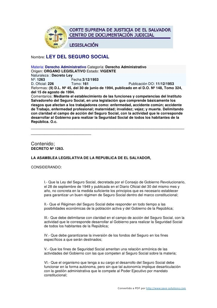 Nombre: LEY    DEL SEGURO SOCIAL Materia: Derecho Administrativo Categoría: Derecho Administrativo Origen: ORGANO LEGISLAT...