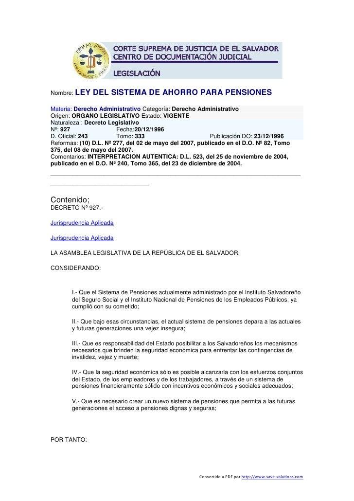 Nombre: LEY    DEL SISTEMA DE AHORRO PARA PENSIONES Materia: Derecho Administrativo Categoría: Derecho Administrativo Orig...