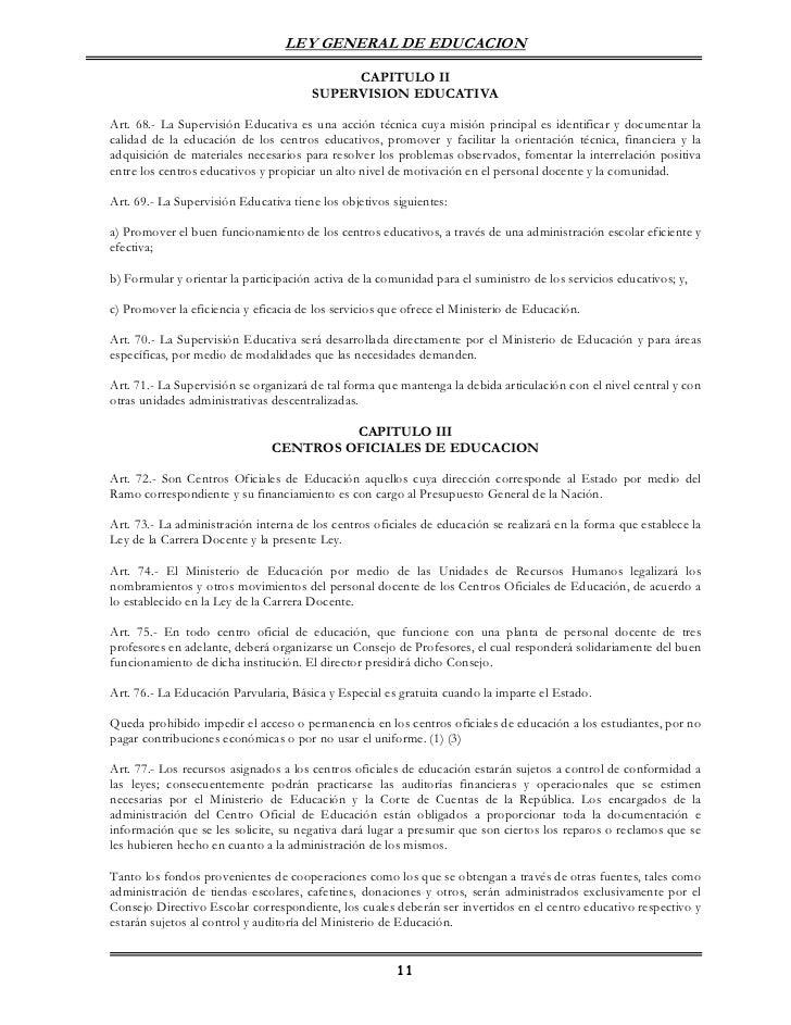 LEY GENERAL DE EDUCACION                                            CAPITULO II                                       SUPE...