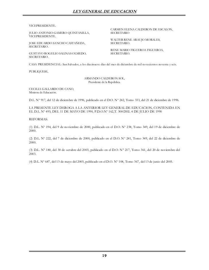 LEY GENERAL DE EDUCACIONVICEPRESIDENTE.                                                            CARMEN ELENA CALDERON D...