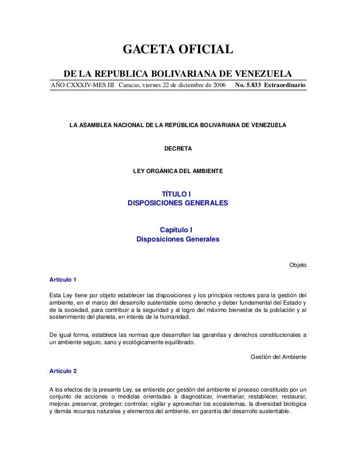 GACETAOFICIAL      DELAREPUBLICABOLIVARIANADEVENEZUELAAÑOCXXXIVMESIIICaracas,viernes22dediciembrede2006...