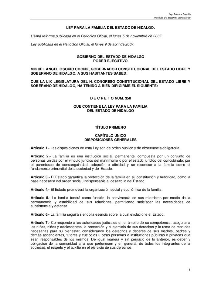 Ley Para La Familia                                                                              Instituto de Estudios Leg...