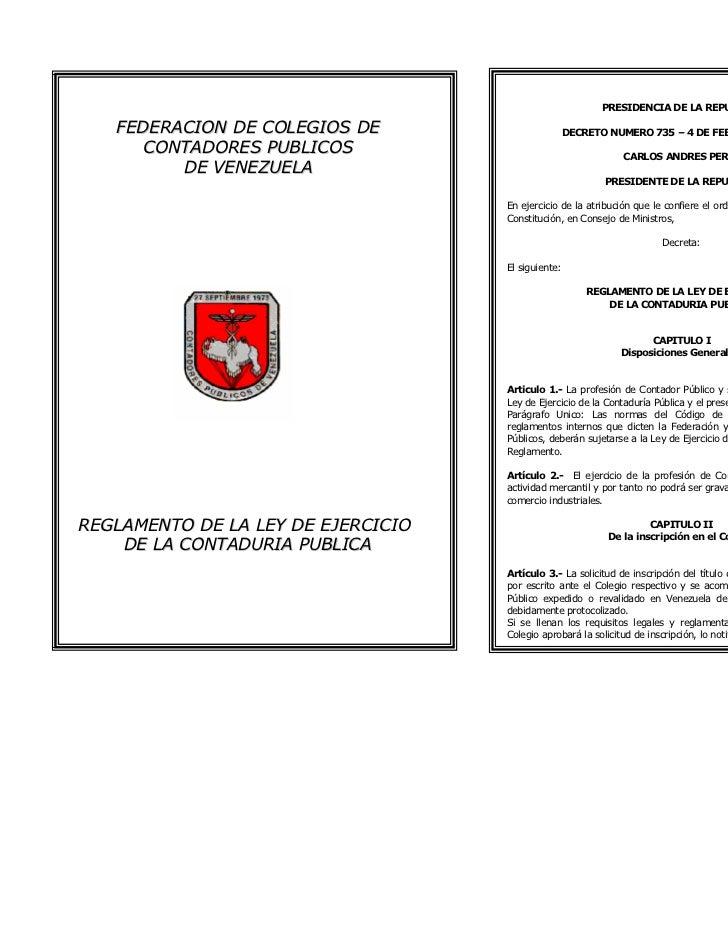 PRESIDENCIA DE LA REPUBLICA   FEDERACION DE COLEGIOS DE                    DECRETO NUMERO 735 – 4 DE FEBRERO DE 1975      ...
