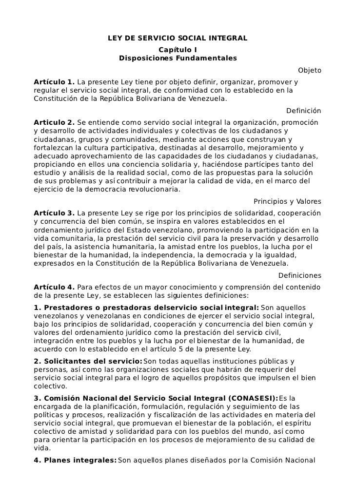 LEY DE SERVICIO SOCIAL INTEGRAL                                    Capítulo I                          Disposiciones Funda...