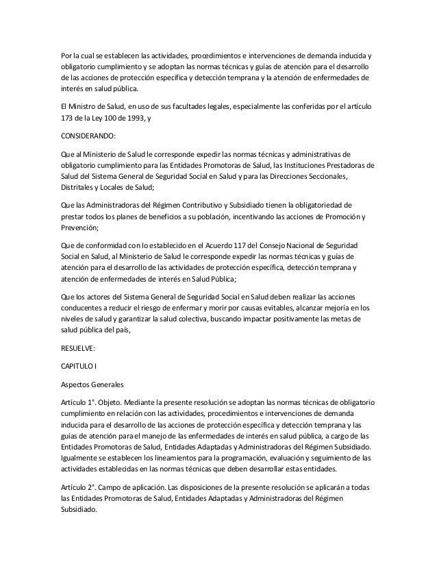 Por la cual se establecen las actividades, procedimientos e intervenciones de demanda inducida yobligatorio cumplimiento y...