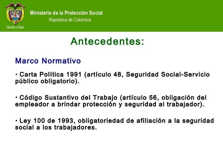 Ley 100 de 1993 ministerio de seguridad social for Oficina seguridad social