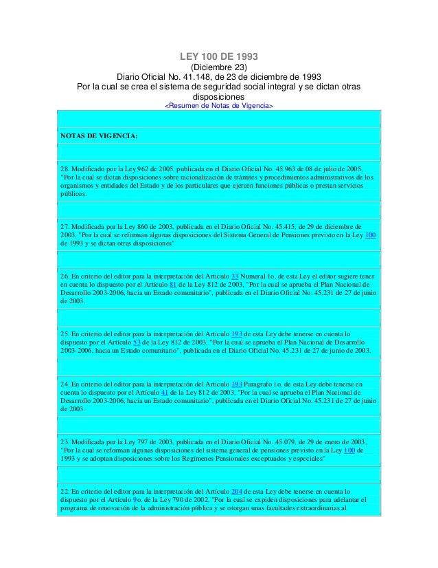 LEY 100 DE 1993 (Diciembre 23) Diario Oficial No. 41.148, de 23 de diciembre de 1993 Por la cual se crea el sistema de seg...