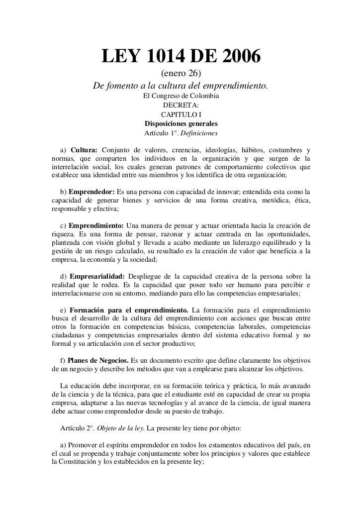 Ley 1014 de_2006