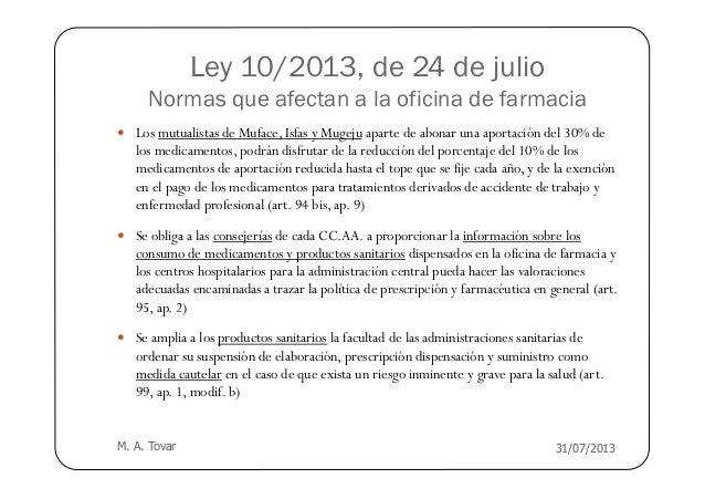 Ley 10 2013 resumen modificaciones farmacias for Oficinas muface