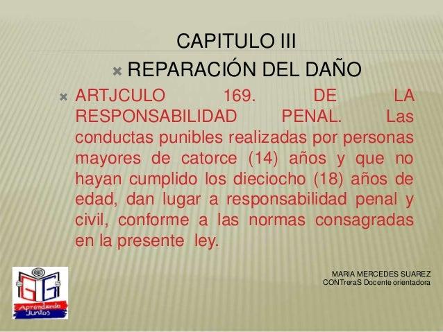 CAPITULO III  REPARACIÓN DEL DAÑO  ARTJCULO 169. DE LA RESPONSABILIDAD PENAL. Las conductas punibles realizadas por pers...