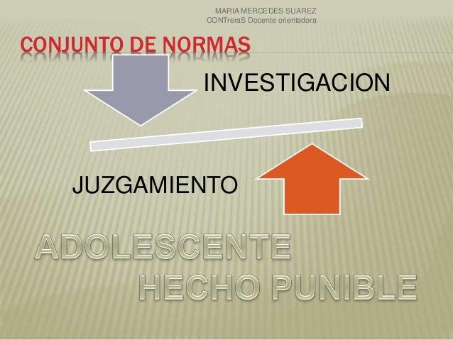 CONJUNTO DE NORMAS INVESTIGACION JUZGAMIENTO MARIA MERCEDES SUAREZ CONTreraS Docente orientadora