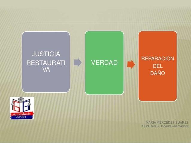 JUSTICIA RESTAURATI VA VERDAD REPARACION DEL DAÑO MARIA MERCEDES SUAREZ CONTreraS Docente orientadora