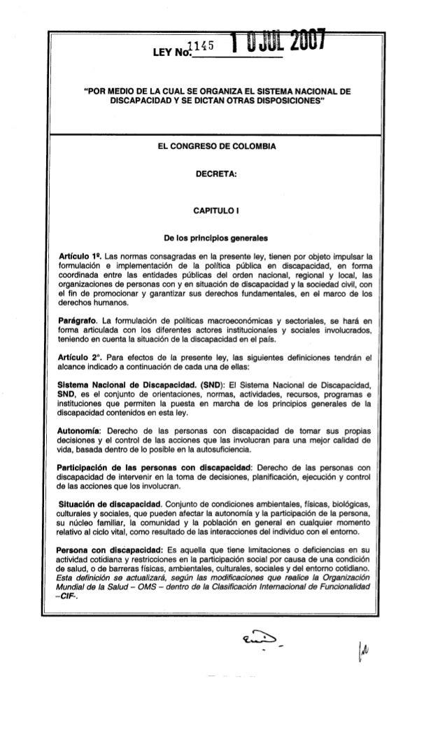 """LEY NJ145  """"POR MEDIO DE lA CUAL SE ORGANIZA El SISTEMA NACIONAL DE DISCAPACIDAD y SE DICTAN OTRAS DISPOSICIONES""""  El CONG..."""