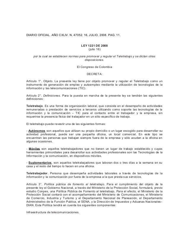 DIARIO OFICIAL. AÑO CXLIV. N. 47052. 16, JULIO, 2008. PAG. 11. LEY 1221 DE 2008 (julio 16) por la cual se establecen norma...