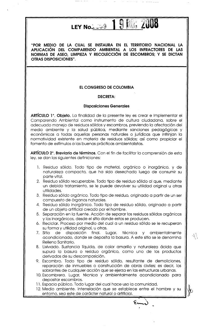 """LEY No~S9""""POR MEDIO DE LA CUAL SE INSTAURA EN EL TERRITORIO NACIONAL LAAPLICACiÓN   DEL COMPARENDO AMBIENTAL A lOS INFRACT..."""