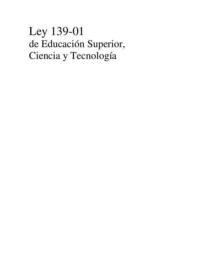 Ley 139-01 de Educación Superior, Ciencia y Tecnología