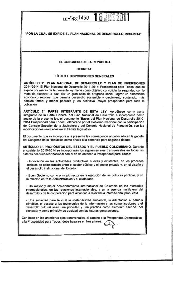 """""""POR LA CUAL SE EXPIDE El PLAN NACIONAL DE DESARROllO, 2010-2014""""                          El CONGRESO DE lA REPÚBLICA    ..."""