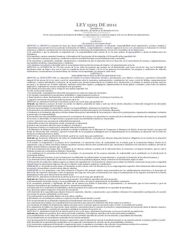 LEY 1503 DE 2011(diciembre 29)Diario Oficial No. 48.298 de 30 de diciembre de 2011CONGRESO DE LA REPÚBLICAPor la cual se p...