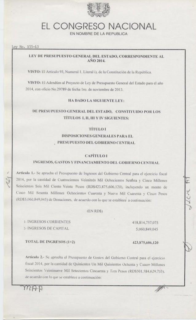 Ley 155 13-presupuesto-general-del-estado-2014