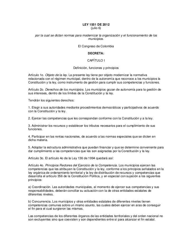 LEY 1551 DE 2012                                            (julio 6)    por la cual se dictan normas para modernizar la o...