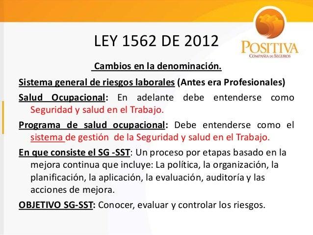 Ley 1562 2012 Presentacion Riesgos Laborales