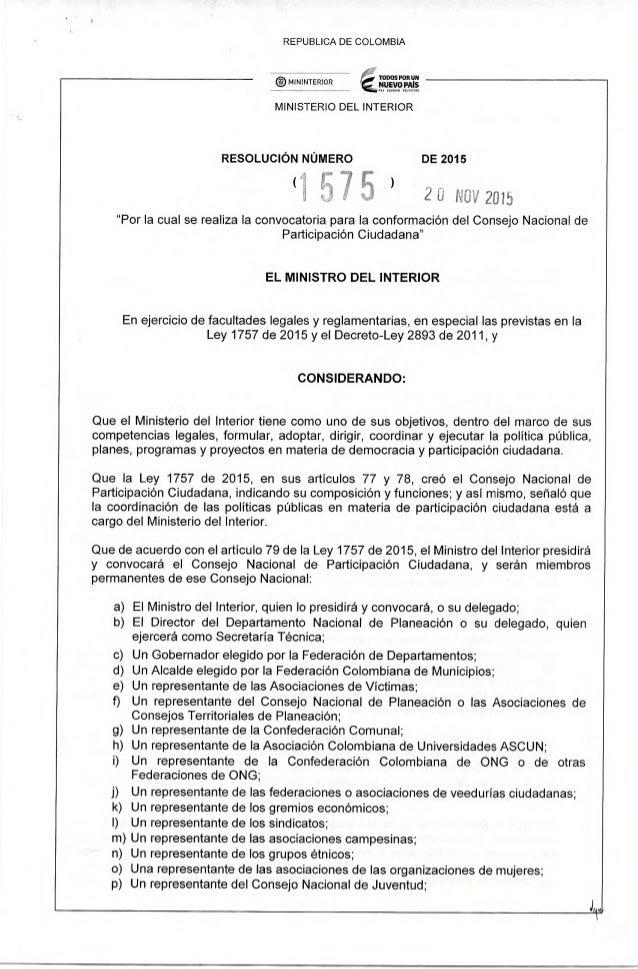 REPUBLICA DE COLOMBIA  f',   'tonos FORUM   MINISTERIO DEL INTERIOR  ®MININTERIOR  RESOLUCIÓN NÚMERO DE 2015 (r;  IJÏ   ) ...