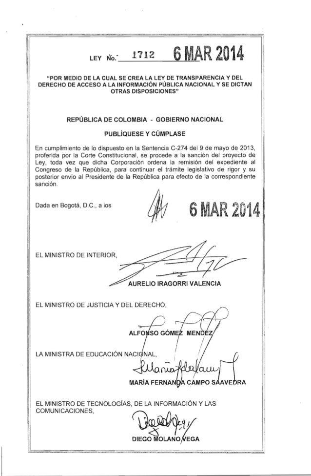 Ley de transparencia y acceso a la informaci n 1712 de 2014 for Oficina de transparencia y acceso ala informacion