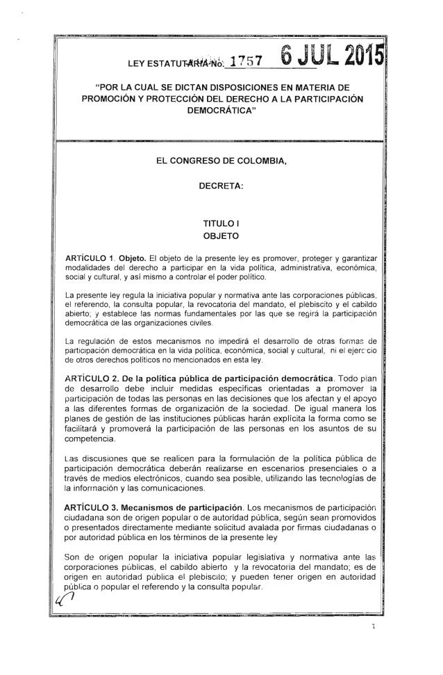 """LEY ESTATUT.,!lRiAlrlih, 1757 6JUL2015~~--------------- """"POR LA CUAL SE DICTAN DISPOSICIONES EN MATERIA DE PROMOCiÓN Y PRO..."""