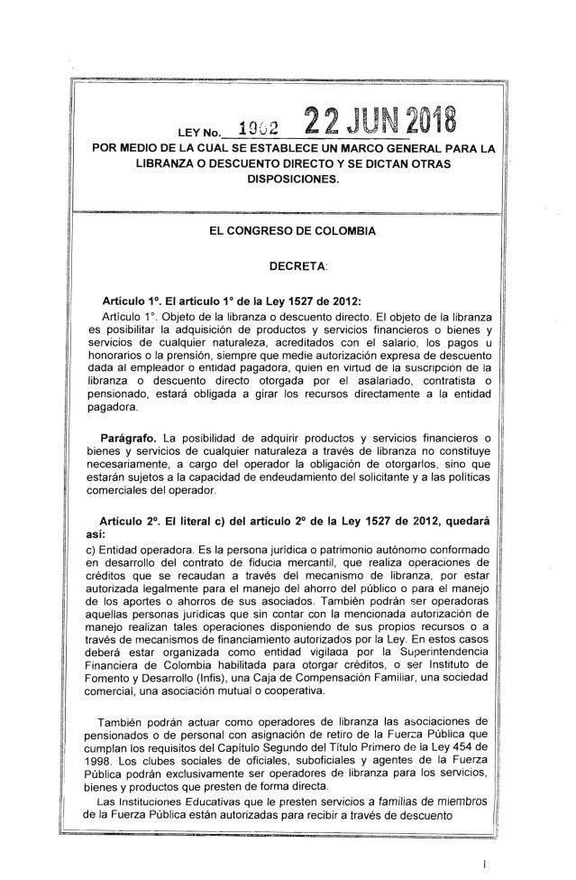 Ley 1902 del 2018 por medio de la cual se establece un marco general …