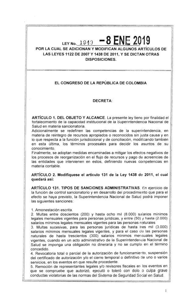 I IW· !I lEY No. 1943 -8 ENE 2019POR lA CUAL SE ADICIONAN Y MODIFICAN ALGUNOS ARTíCULOS DE lAS lEYES 1122 DE 2007 Y 1438 D...