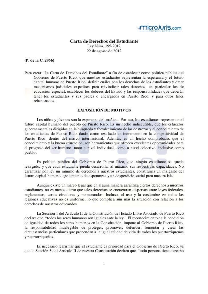 Ley 195 (carta de derechos del estudiante)