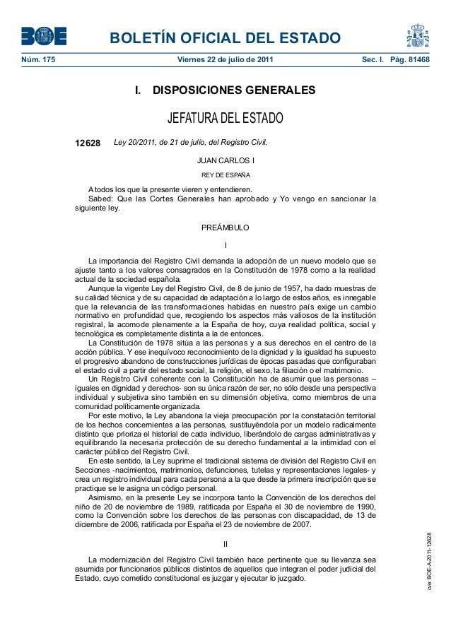 BOLETÍN OFICIAL DEL ESTADO Núm. 175  Viernes 22 de julio de 2011  Sec. I. Pág. 81468  I. DISPOSICIONES GENERALES  JEFAT...