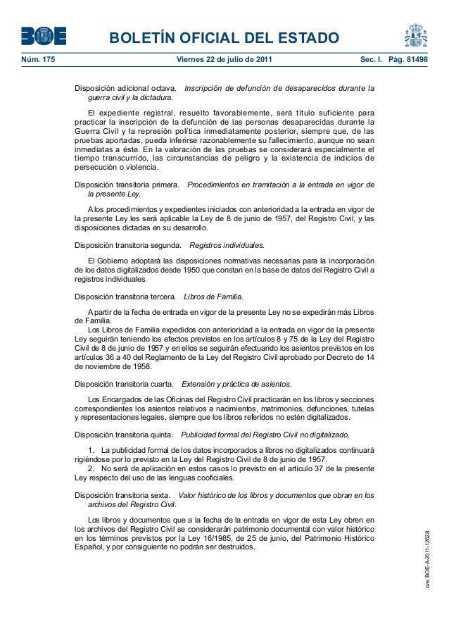 Ley 20 2011 de 21 de julio del registro civil for Registro ministerio del interior