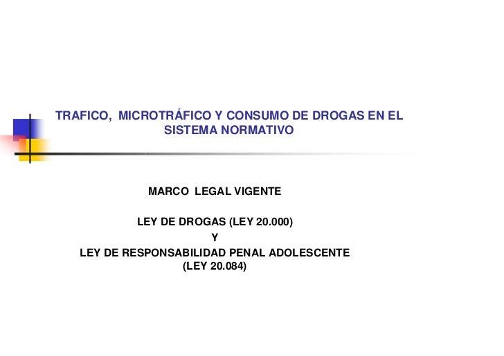 TRAFICO, MICROTRÁFICO Y CONSUMO DE DROGAS EN EL                SISTEMA NORMATIVO                  MARCO LEGAL VIGENTE     ...
