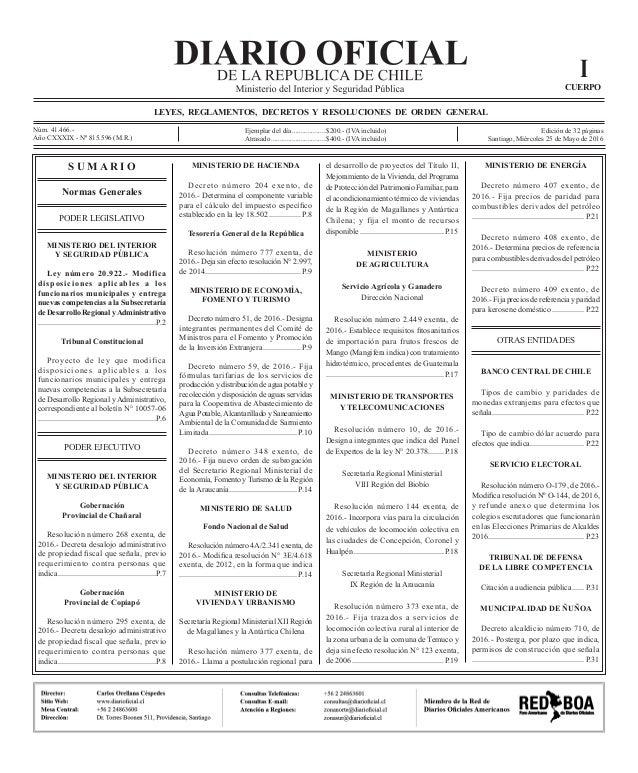Diario oficial ley 20922 for Nomina de funcionarios del ministerio del interior