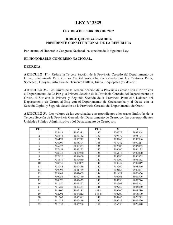 LEY Nº 2329                           LEY DE 4 DE FEBRERO DE 2002                        JORGE QUIROGA RAMIREZ            ...