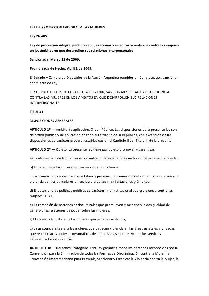 Ley 26485 protección integral mujeres