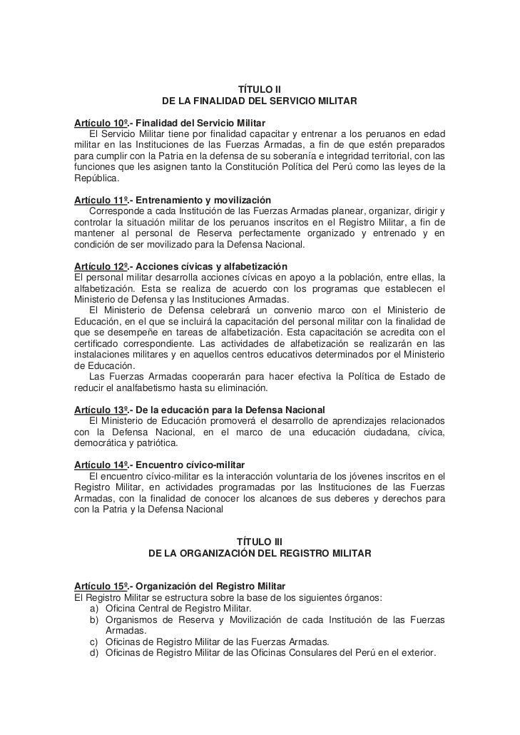 LEY N 27178 LEY DEL SERVICIO MILITAR DERECHOS Y BENEFICIOS