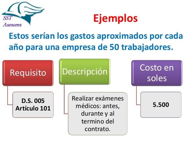 Ejemplos Estos serían los gastos aproximados por cada año para una empresa de 50 trabajadores.  Requisito D.S. 005 Artícul...