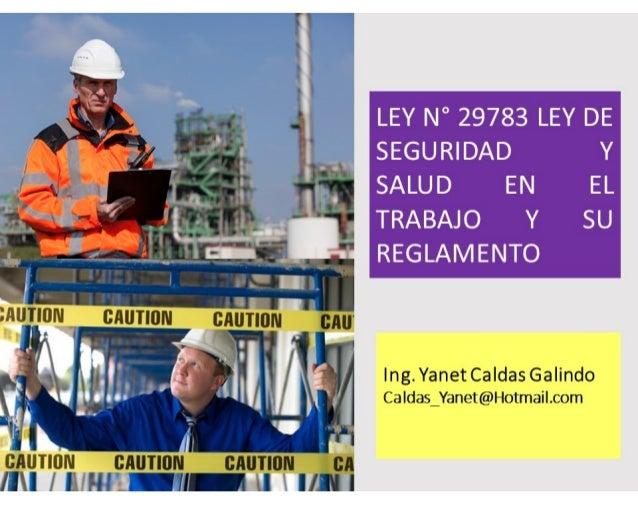 LEY N° 29783 LEY DE SEGURIDAD Y SALUD EN EL TRABAJO Y SU REGLAMENTO Ing. Yanet Caldas GalindoIng. Yanet Caldas GalindoIng....
