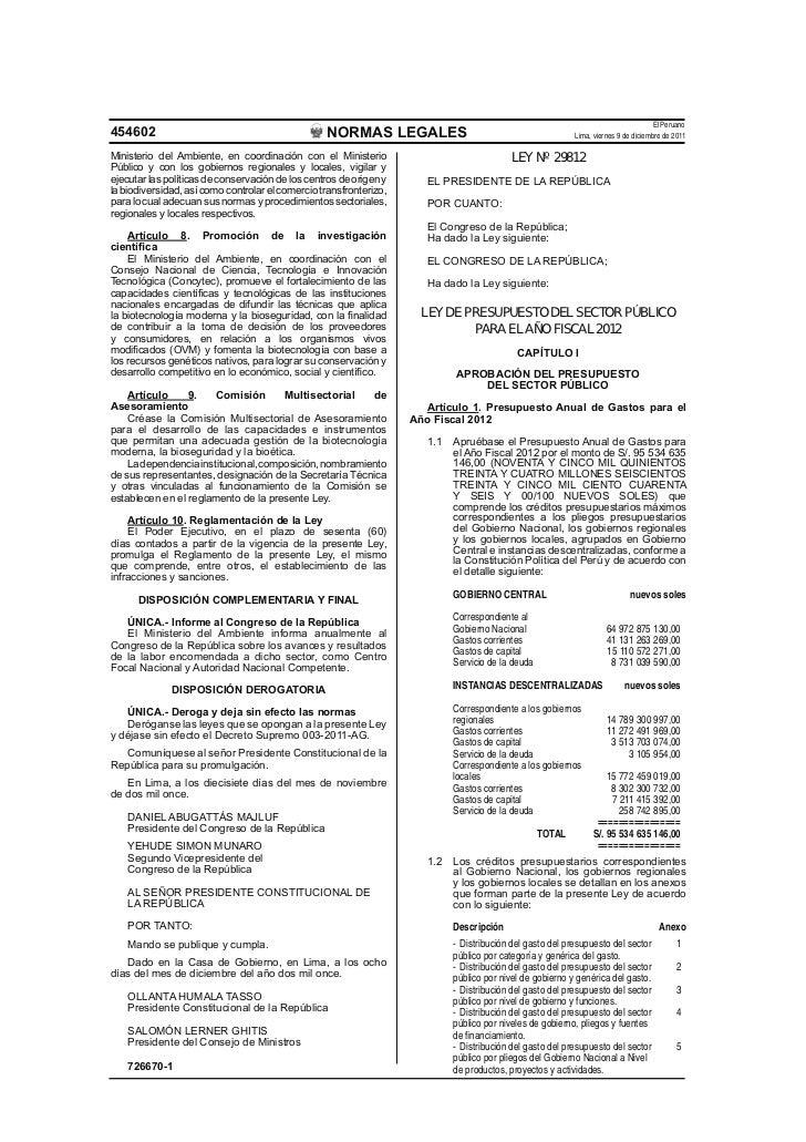 El Peruano454602                                            NORMAS LEGALES                                            Lima...