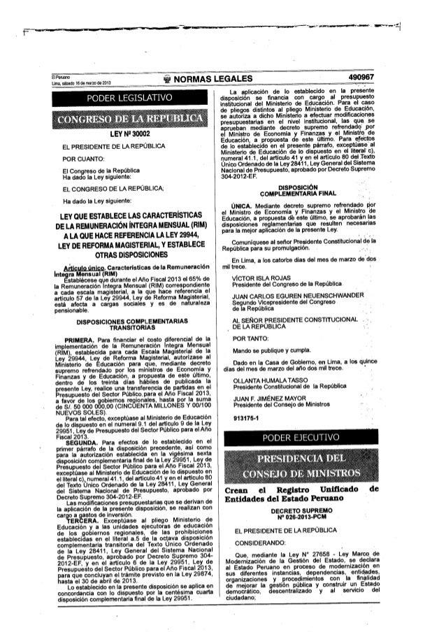 Ley 30002 características de la Remuneración Íntegra Mensual - RIM