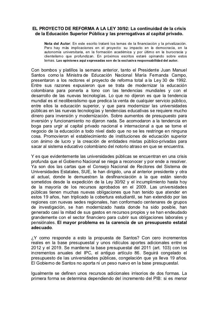 EL PROYECTO DE REFORMA A LA LEY 30/92: La continuidad de la crisis de la Educación Superior Pública y las prerrogativas al...