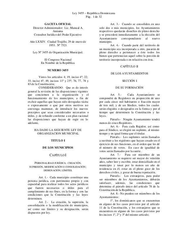 Ley 3455 – República Dominicana Pág. 1 de 32 GACETA OFICIAL Director-Administrador: Lic. Manual A. Amiama Consultor Jurídi...