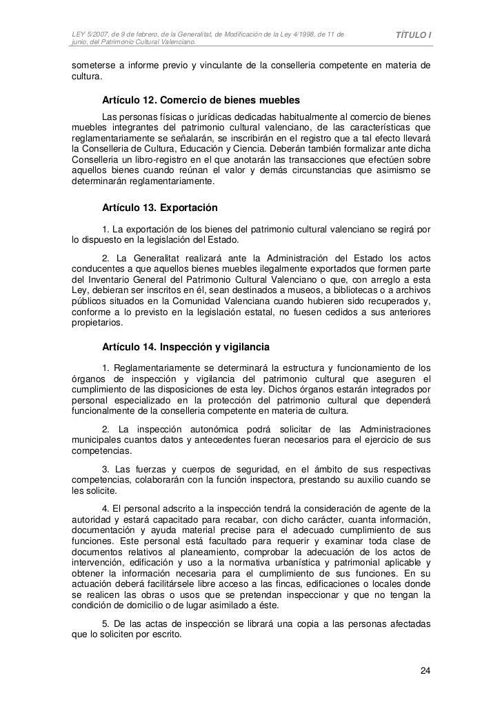 Ley 5 2007 patrimonio cultural valenciano for Registro de bienes muebles de valencia