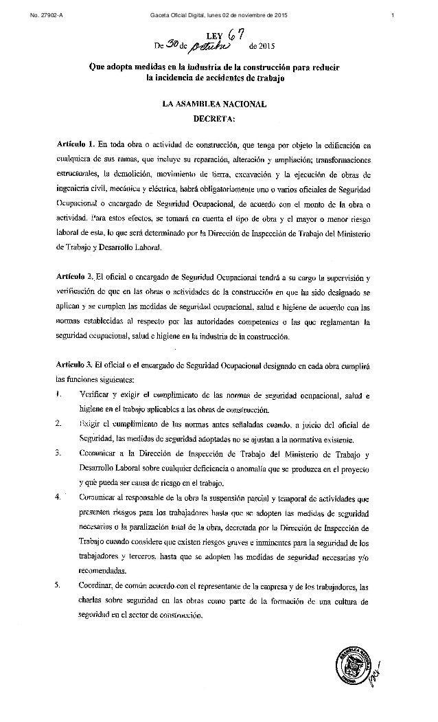No. 27902-A Gaceta Oficial Digital, lunes 02 de noviembre de 2015 1
