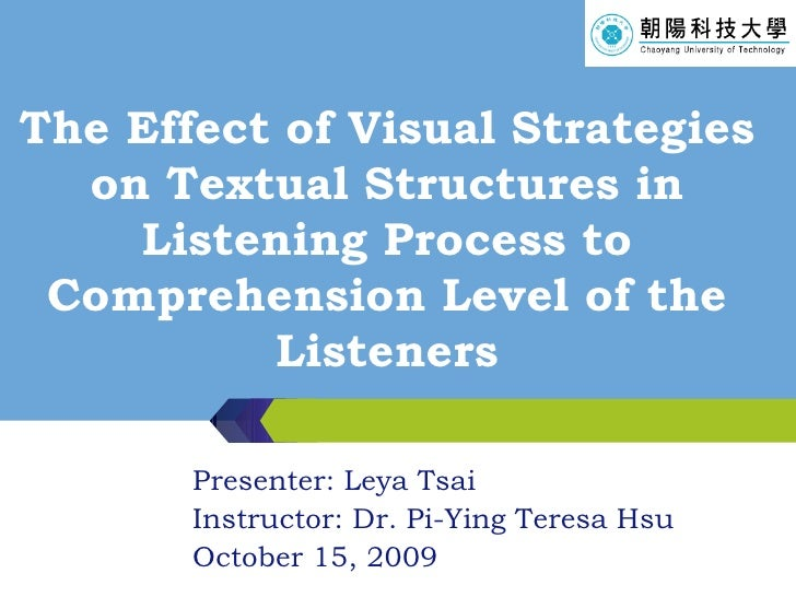 The Effect of Visual Strategies on Textual Structures in Listening Process to Comprehension Level of the Listeners Present...
